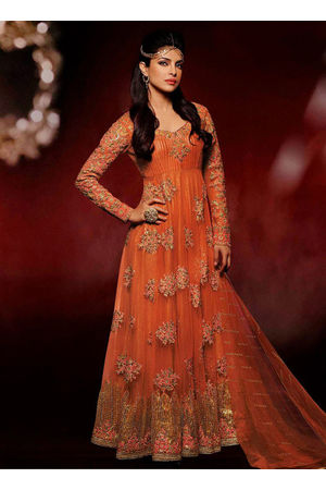 Priyanka Chopra Royal and Beautiful Orange Colour Net and Embroidery Suit