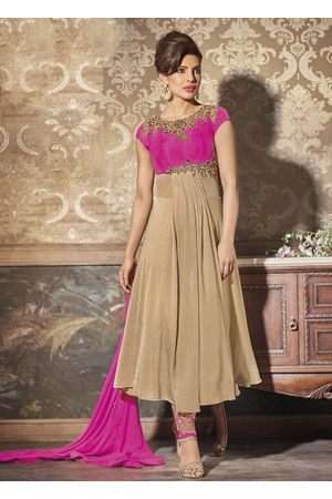 An excellent Pink and Beige color Georgette Ankle length Anarkali