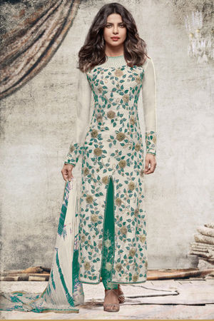 Priyanka Chopra Stylish Green colour Georgette Straight Cut Salwar Suit