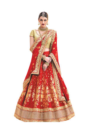 Red Color Wedding Wear Brocade Embroidered Lehenga Choli