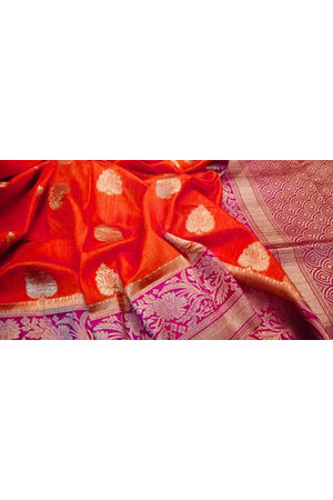 Red Color Linen and Katan Silk Blend Saree with Magenta Border