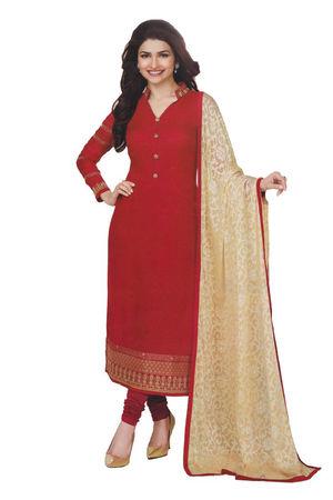 Prachi Desai in Red Georgette Straight Salwar Suit