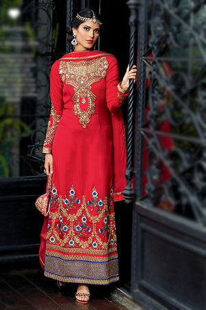Red Embroidered Tussar Silk Party Wear Suit with Zardozi Work
