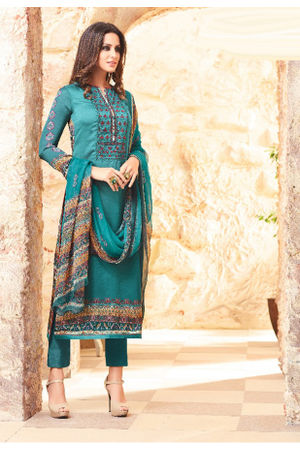 Embroidered Georgette Satin Salwar Suit_2