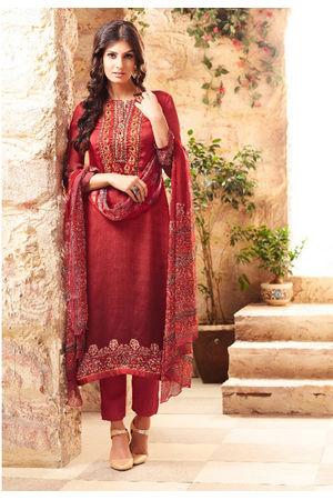 Embroidered Georgette Satin Salwar Suit_4