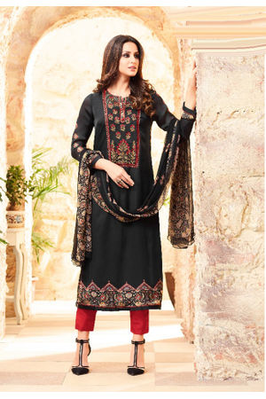 Embroidered Georgette Satin Salwar Suit_9