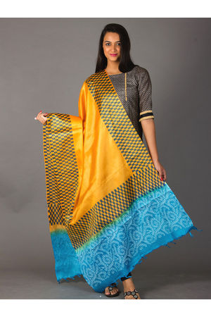 Dee's Alley Pure Tussar Silk Dupatta - Block Printed in Yellow