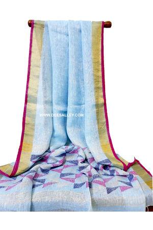 Dee's Alley  Pure Linen Silk Saree with  Jamdani work  in Lightl Blue