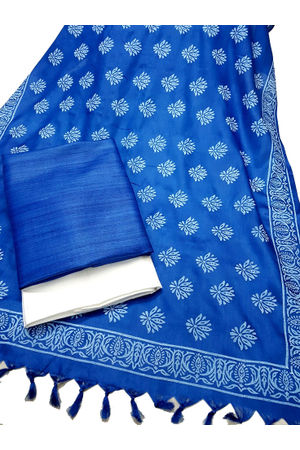 Printed Tussar Ghicha Silk Suit in Blue Color