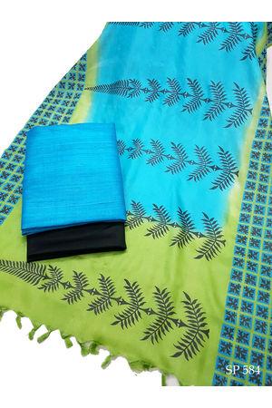 Ghicha Tussar Silk Suit Block Printed in Blue  Green Shade