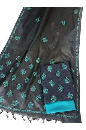Ghicha Tussar Silk Suit Block Printed in Black Color