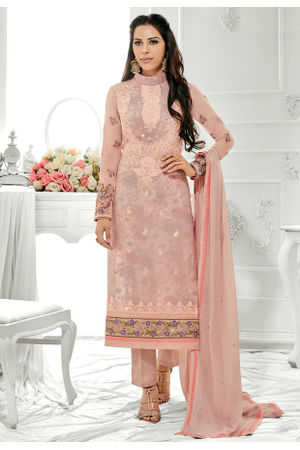 Light Pink Color  Party Wear Staright Suit_4029