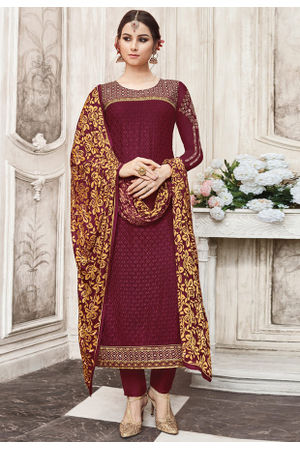Maroon Color  Georgette Party Wear Staright Suit_4033