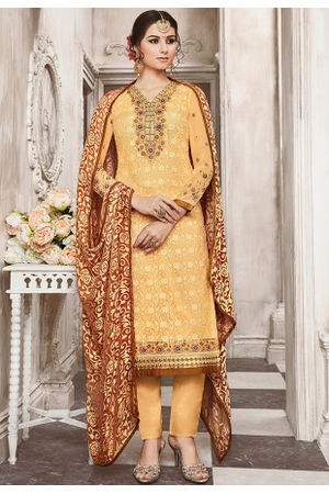 Yellow  Color Georgette Party Wear Staright Suit_4035