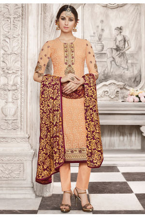 Orange  Color Georgette Party Wear Staright Suit_4037