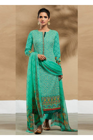 Embroidered Cotton Pant Style Straight Suit_7402