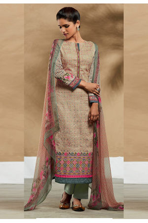 Embroidered Cotton Pant Style Straight Suit_7407