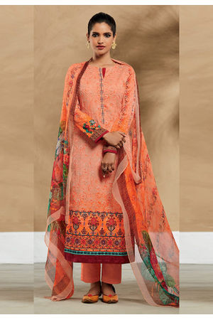 Embroidered Cotton Pant Style Straight Suit_7409