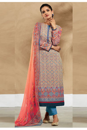 Embroidered Cotton Pant Style Straight Suit_7410