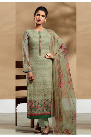 Embroidered Cotton Pant Style Straight Suit_7411
