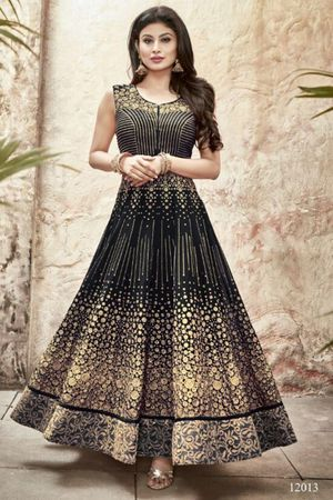 Mouni Roy Black Long Anarkali Salwar Suit with Zari work
