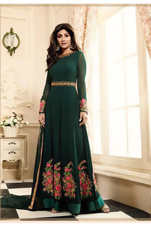 Shilpa Shetty in Dark Green Long Anarkali