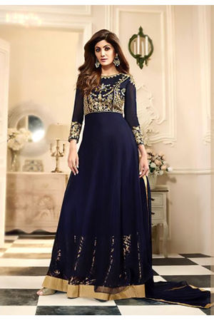 Shilpa Shetty in Dark Blue Long Anarkali with Golden Border