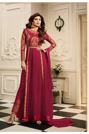 Shilpa Shetty in Pant Style Maroon Anarkali