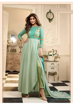 Shilpa Shetty in Shaded Green Anarkali Pant Style