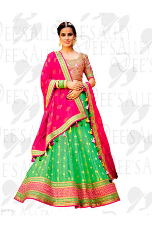 Green Banarasi Silk Jacquard Lehenga Choli