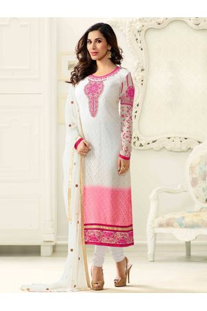 Sophie Chaudhary   white and pink georgette brasso suit with embroidery work
