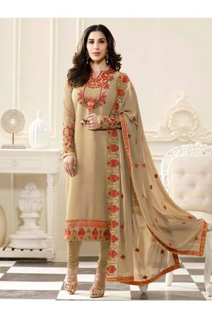 Sophie Chaudhary  beige georgette suit with embroidery work