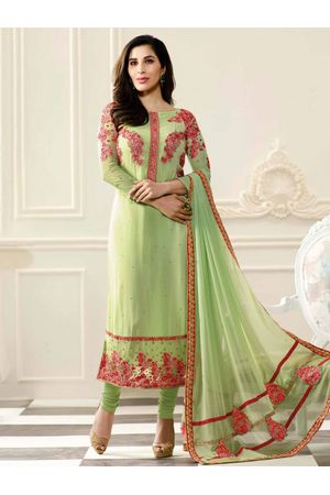 Sophie Chaudhary   green georgette suit with embroidery work