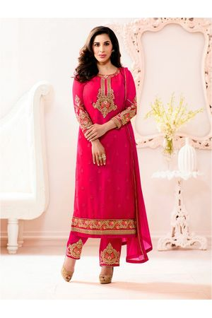 Sophie Chaudhary   pink georgette suit with embroidery work