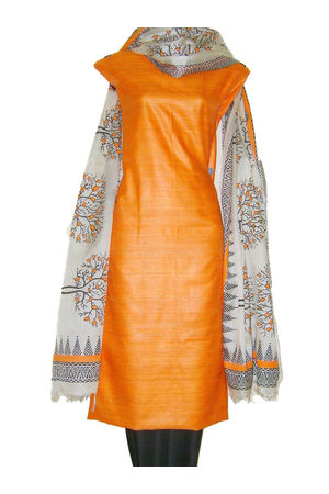 Block Printed Tussar Dress Material in Orange _13