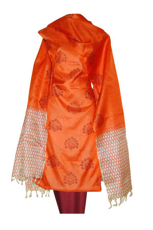 Block Printed Tussar Dress Material in Orange _14