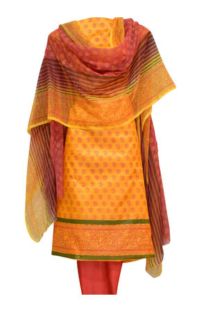 Block Printed Tussar Dress Material in Orange _16