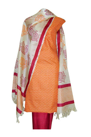 Block Printed Tussar Dress Material in Orange _19