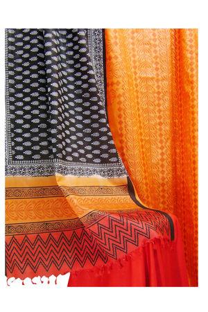 Block Printed Tussar Dress Material in Orange _20