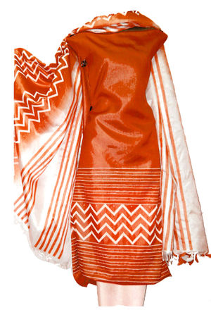 Block Printed Tussar Dress Material in Orange - White
