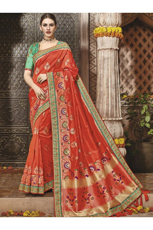 Tomato Red Kanjeevaram saree