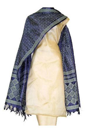 Tussar Silk Suit Fabric in Cream Shade_27