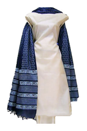 Tussar Silk Suit Fabric in Off White Color with Blue