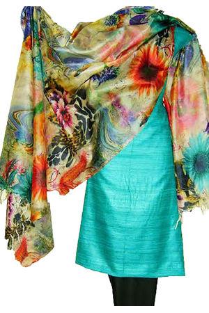 Tussar Silk Suit Block Printed In Green Shade _10