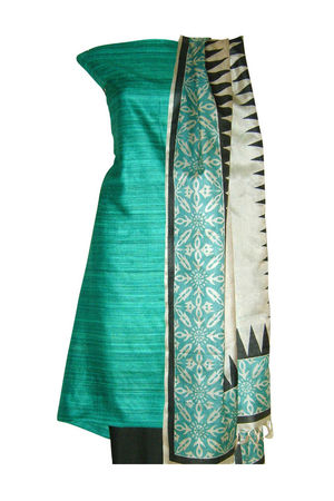 Tussar Silk Suit Block Printed In Green Shade _15
