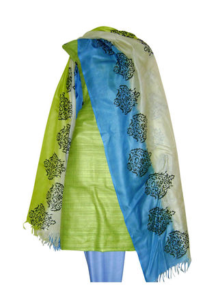 Tussar Silk Suit Block Printed In Green Shade _18