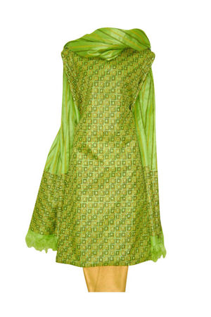 Tussar Silk Suit Block Printed In Green Shade _19