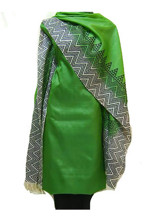 Tussar Silk Suit Block Printed In Green Shade _23