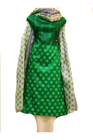 Tussar Silk Suit Block Printed In Green Shade _24