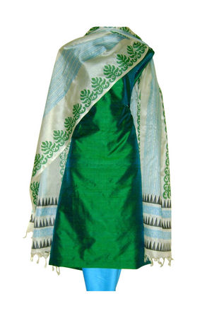 Tussar Silk Suit Block Printed In Green Shade _30